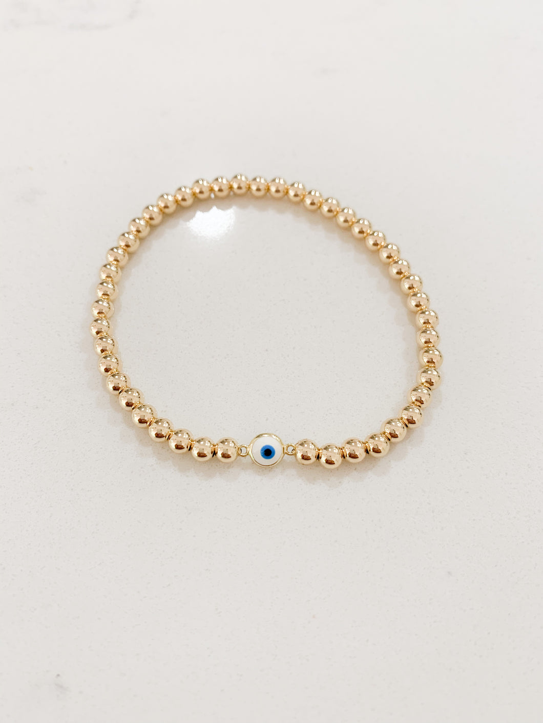 Tiny Evil Eye Bracelet- Gold Beads