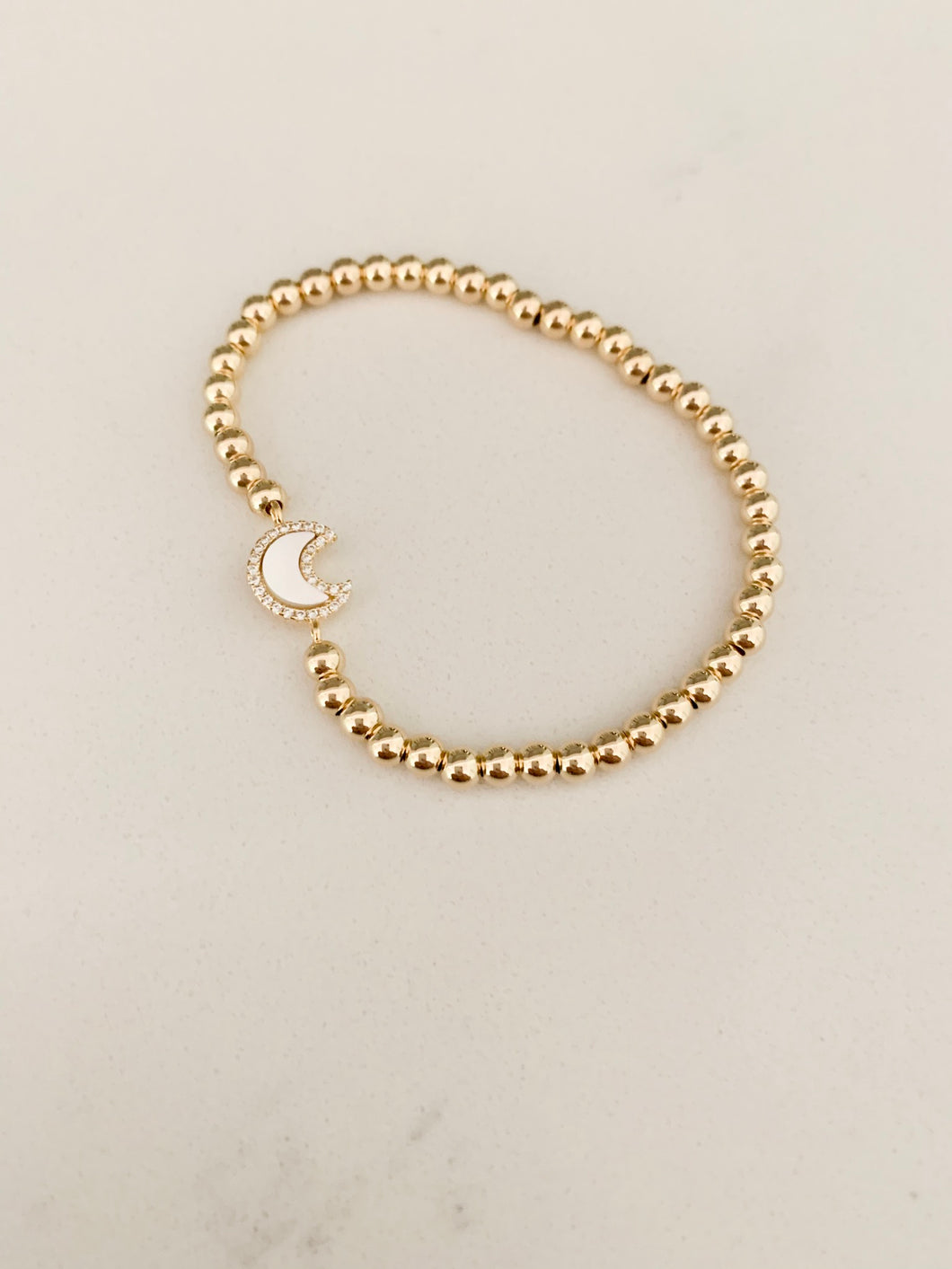 Mother of Pearl CZ Moon Bracelet- Gold Beads