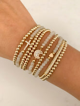 Load image into Gallery viewer, Mother of Pearl CZ Moon Bracelet- Gold Beads