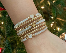 Load image into Gallery viewer, Mother of Pearl CZ Heart Bracelet