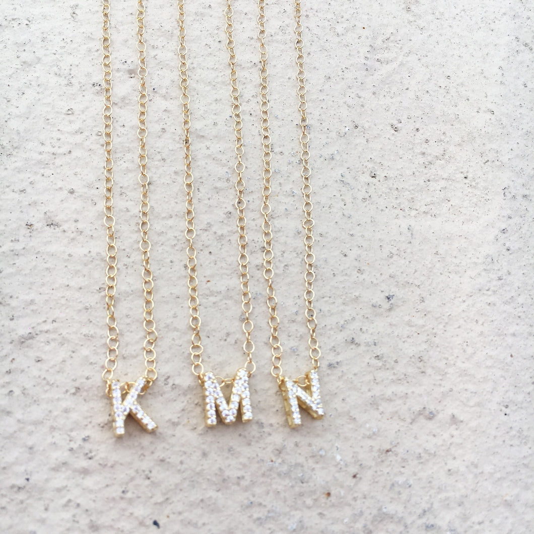 Gold CZ Initial Necklace