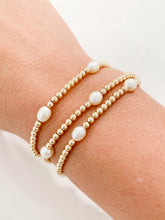 Load image into Gallery viewer, 3mm Gold Bracelet - Pearls