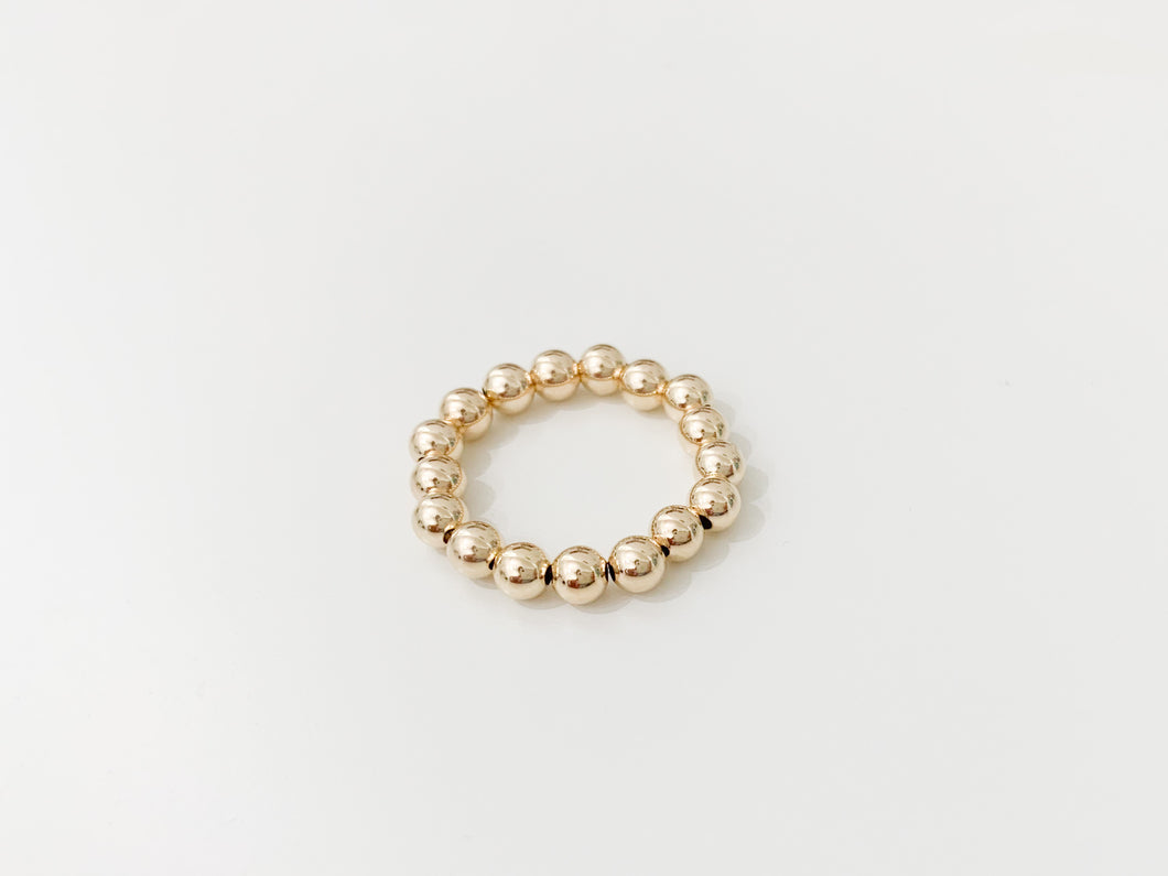 Gold Beaded Ring - 4mm