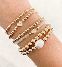 Load image into Gallery viewer, Initial Heart Bracelet- Gold Beads