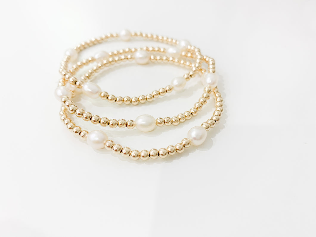 3mm Gold Bracelet - Pearls