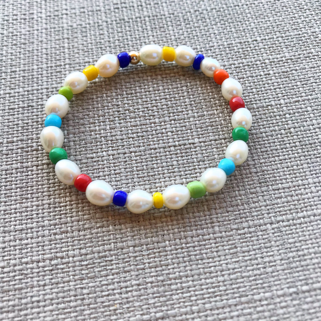 Rainbow Pearl Bracelet- Little Girls