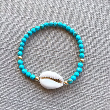 Load image into Gallery viewer, Cowrie Shell Bracelet- Turquoise