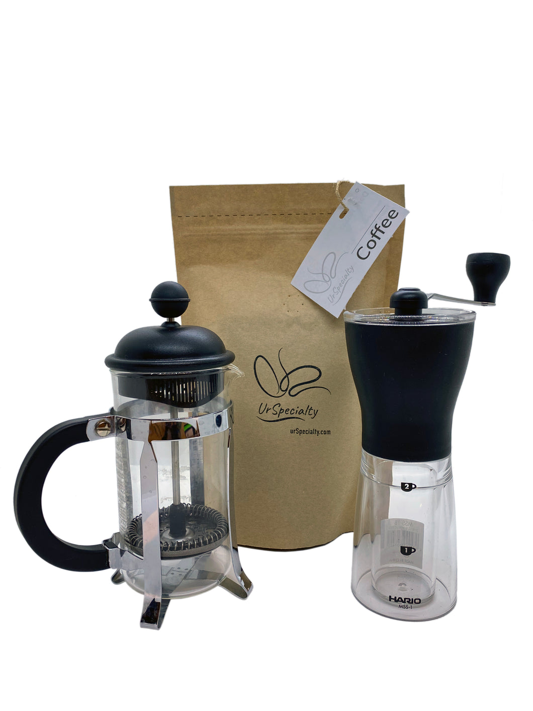 Home Coffee Starter Kit - Grinder, French Press, & Beans