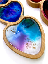 Load image into Gallery viewer, Bamboo + Resin 3 Heart Trinket Tray