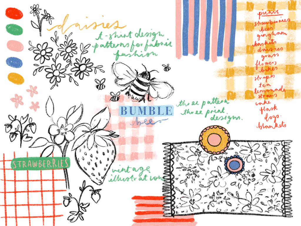 Picnic Brief Initial Ideas - A collection of rough sketches and imagery ideas for prints and designs.