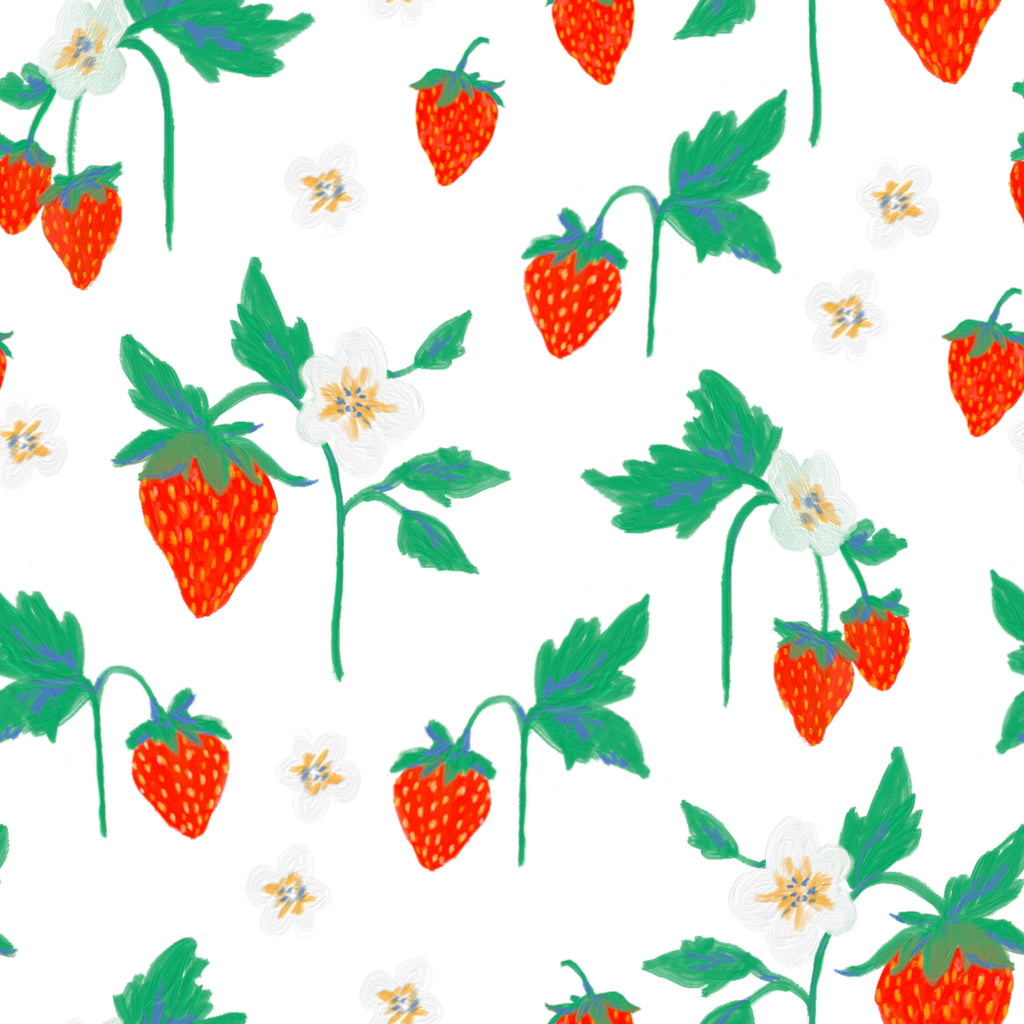 The first Strawberry Pattern Tile. Produced using Adobe Fresco, Procreate and Adobe Illustrator.