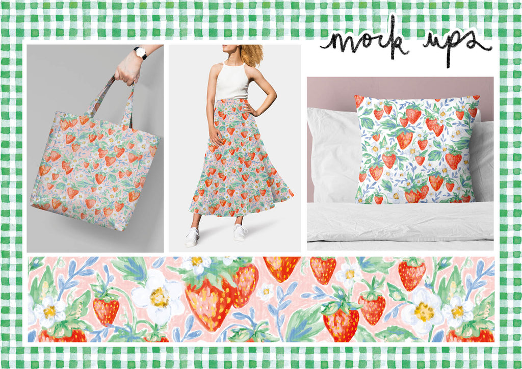 Mock Up Products of Painted Strawberry Print
