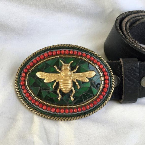 BEE BELT BUCKLE | RED CORAL BORDER
