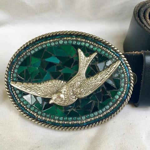 HUNTER GREEN BIRD MOSAIC BELT BUCKLE