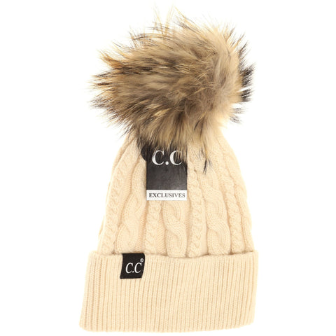 SPECIAL EDITION CREAM SOLID CABLE KNIT BEANIE WITH FUR POM POM
