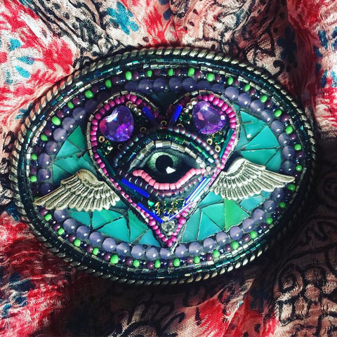 EVIL EYE MOSAIC BELT BUCKLE