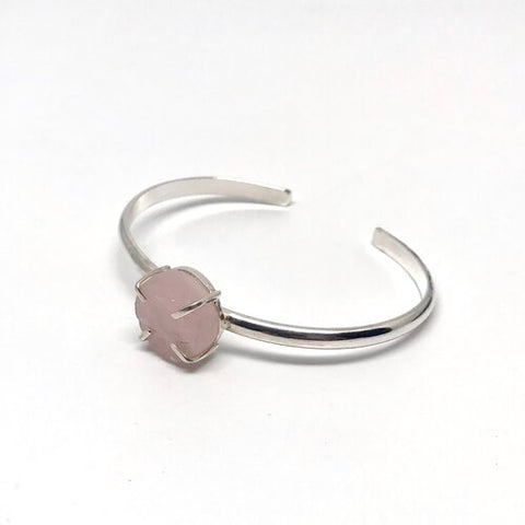 RAW ROSE QUARTZ CUFF BRACELET
