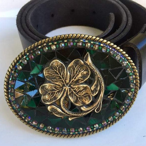 SHAMROCK MOSAIC BELT BUCKLE