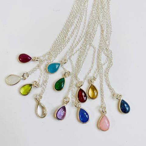 BIRTHSTONE CHARM NECKLACES