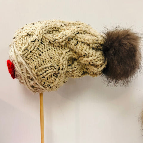 HAND KNITTED HAT WITH REMOVEABLE POM POM