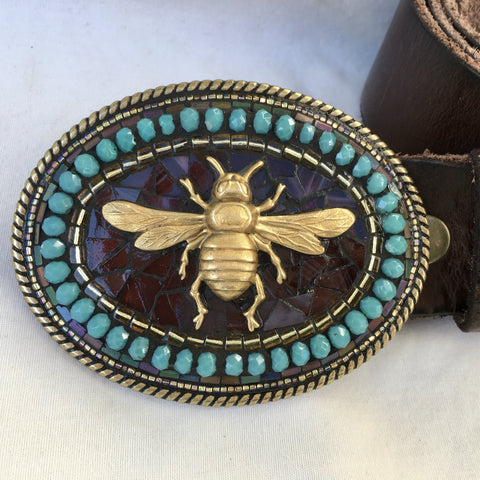 BEE BELT BUCKLE | TURQUOISE BORDER
