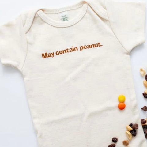 MAY CONTAIN PEANUT SHORT SLEEVE ONESIE