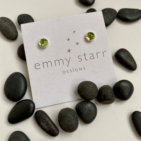 PERIDOT GEMSTONE POST EARRINGS