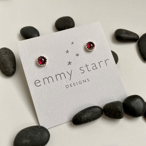 GARNET GEMSTONE POST EARRINGS