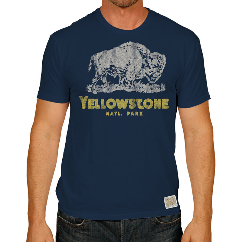 Yellowstone National Park in yellow font with buffalo profile above on our navy 100% cotton tee. One of our most popular styles.