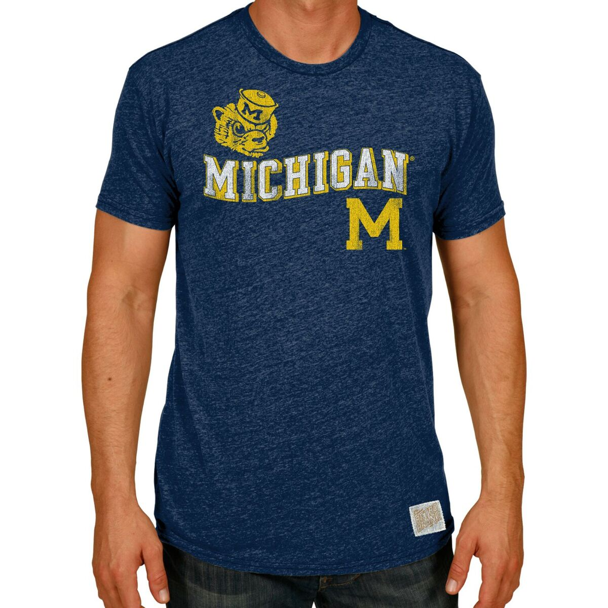 Michigan Wolverines Men's Short Sleeve Triblend Tee