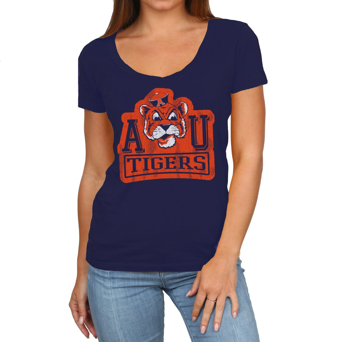 Auburn Women's Short Sleeve Scoop Neck Vintage Tee