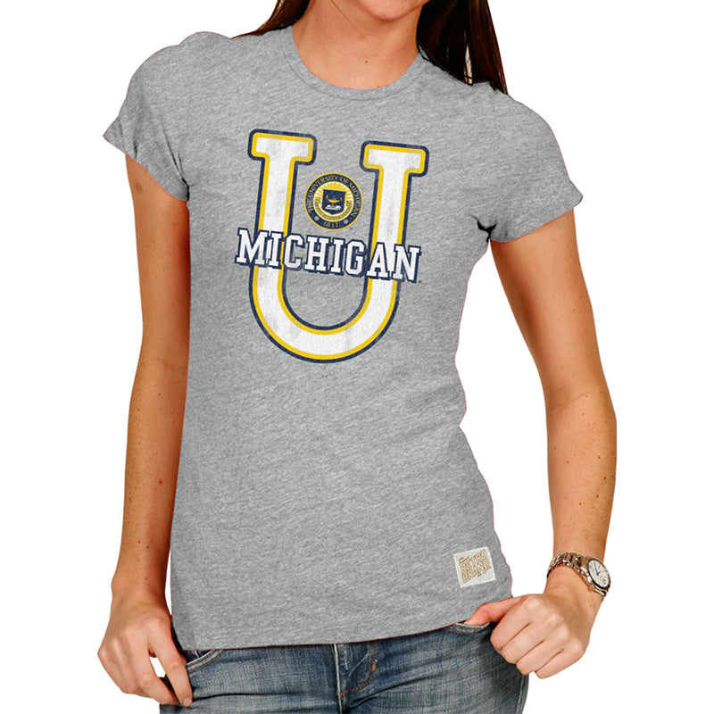 Michigan Wolverines U Women's Tri-blend crew tee