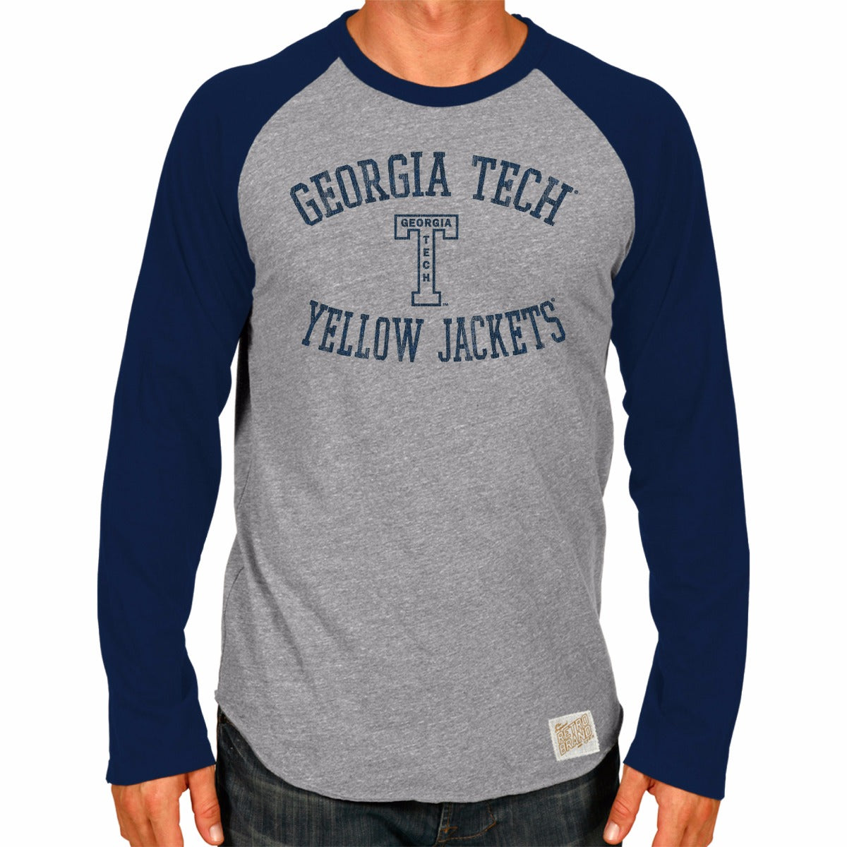 Georgia Tech Yellow Jackets Tri-Blend Unisex Contrast Raglan