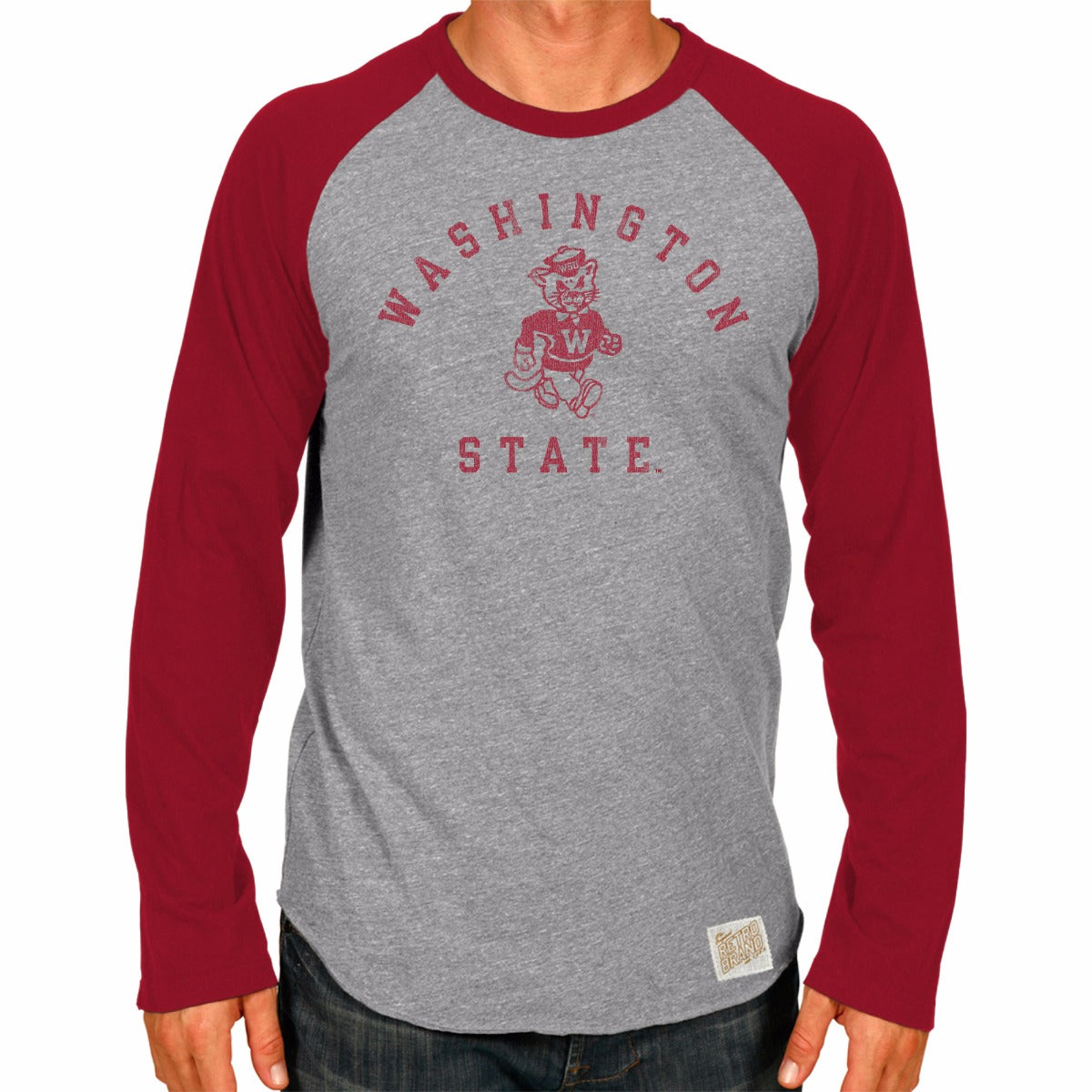 Washington State Cougars Men's Long Sleeve Raglan Baseball Tee