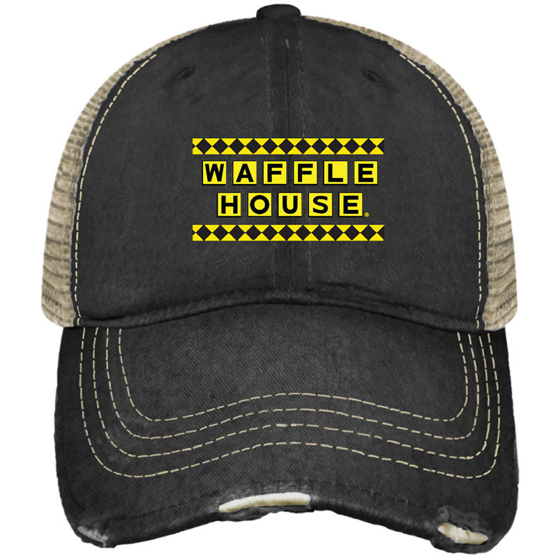 Waffle House Distress Snap Back Trucker Hat
