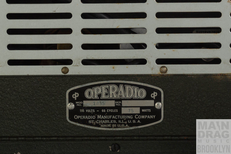 Close up operadio panel showing stamped model 1A35, 75W