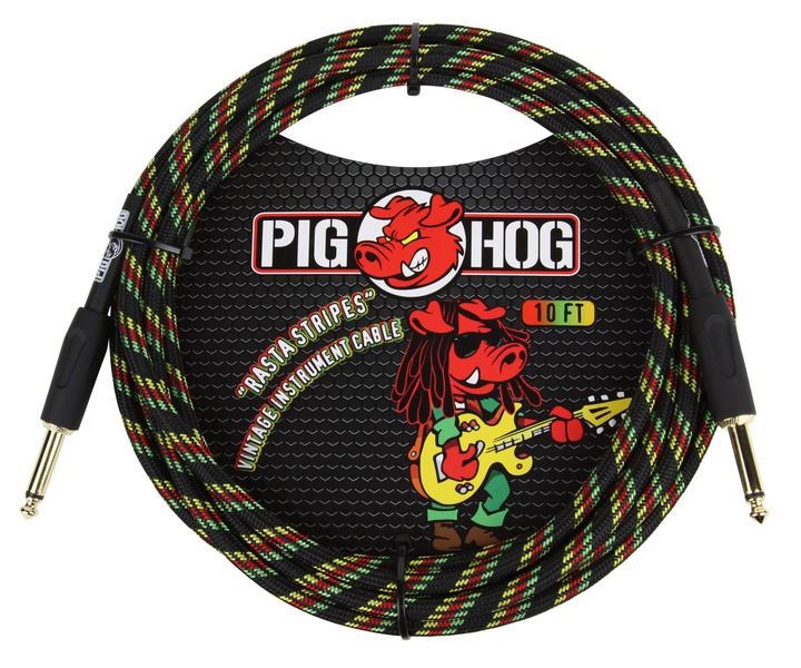 Pig Hog Rasta Stripes Instrument Cable, 10ft