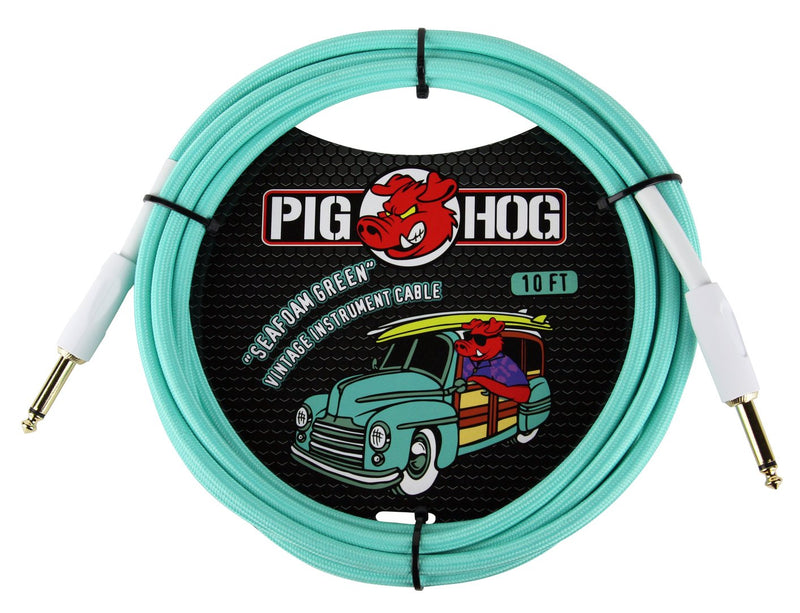Pig Hog Seafoam Green Instrument Cable, 10ft