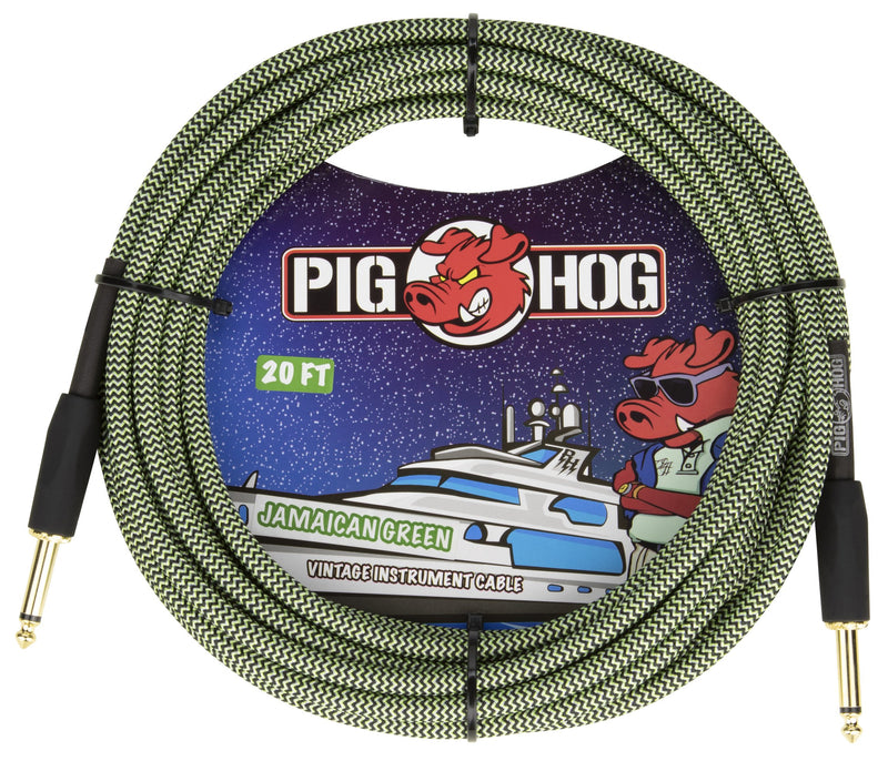"Pig Hog ""Jamaican Green"", 20ft Vintage Series Instrument Cable"