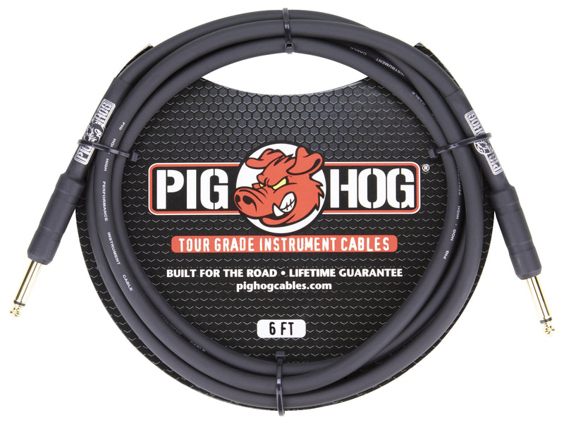 "Pig Hog 6ft 1/4"" -1/4"" 8mm Inst. Cable"