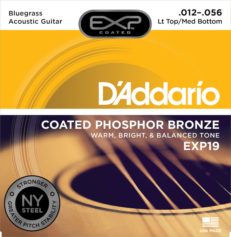 D'Addario EXP19 Coated Phosphor Bronze Acoustic Guitar Strings, Light Top/Medium Bottom/Bluegrass, 12-56