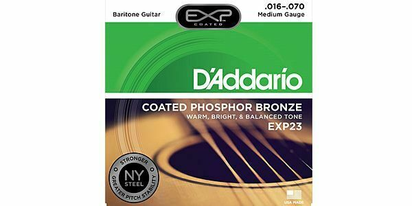 D'Addario EXP23 EXP Coated Baritone Guitar Strings, 16-70