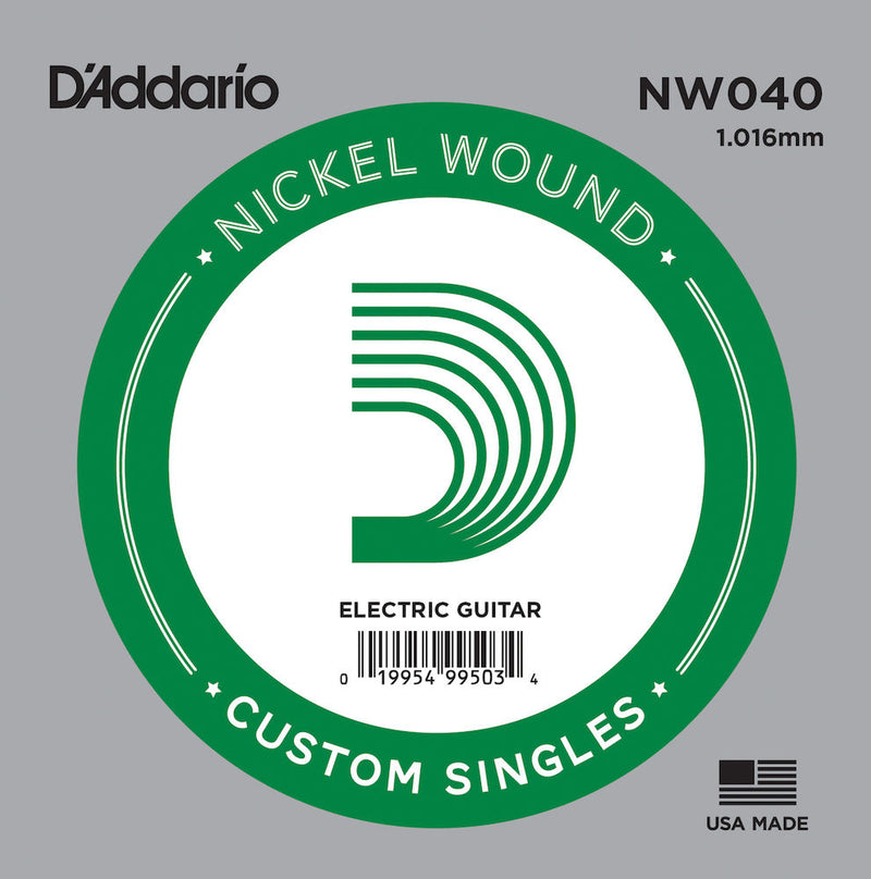 D'Addario NW040 Nickel Wound Electric Guitar Single String, .040