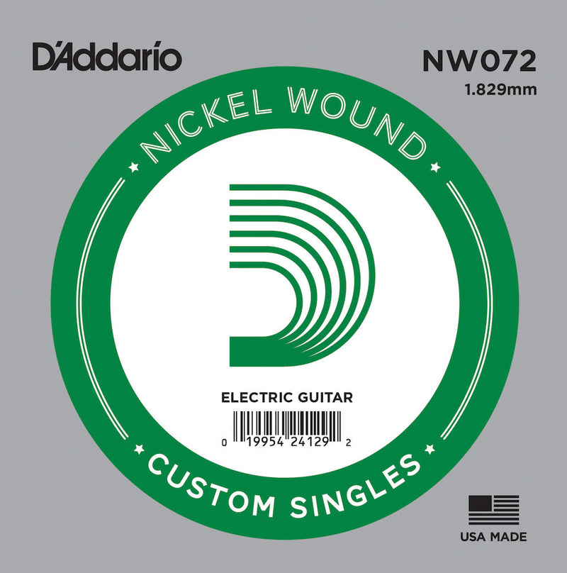 D'Addario NW072 Nickel Wound Electric Guitar Single String, .072