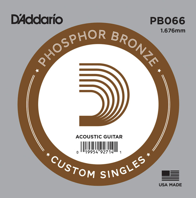 D'Addario PB066 Phosphor Bronze Wound Acoustic Guitar Single String, .066