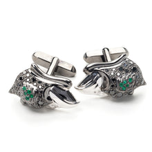 Load image into Gallery viewer, Shahryar Falcon Cufflinks - 18k Black Gold with Emeralds
