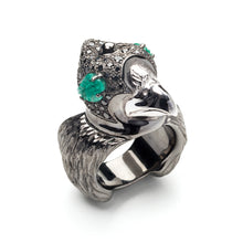 Load image into Gallery viewer, Shahryar Falcon Ring - 18k Black Gold
