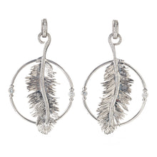 Load image into Gallery viewer, Scheherazade Feather Earrings - 18k White Gold