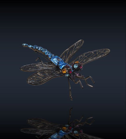 Aquamarine Dragonfly Brooch