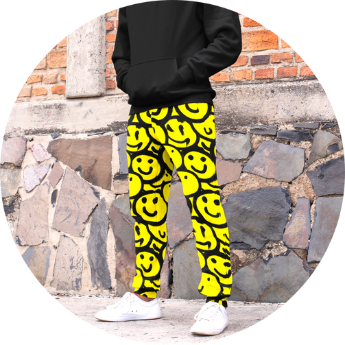 OVEREASY.SHOP Over Easy Smile Collection Smiley Joggers Jogger Sweats Sweatpants Sweat Pants Pack Spray Paint Graffiti Look Cool Aesthetic Skater Clothes All Over Print